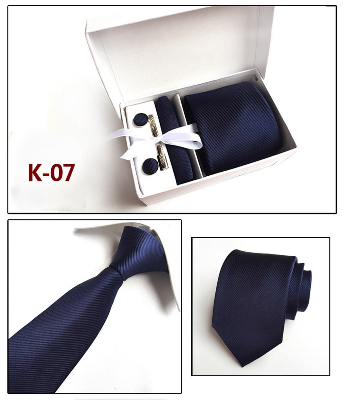6PCS Men's Tie Gift Set(Including tie, Square, Cufflinks, tie Clip, White Gift Box, Gift Bag) Gift Bag) (K-03) ThreeC