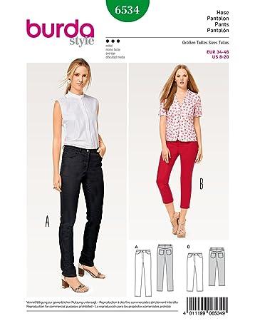 Burda 6534 Schnittmuster Jeans (Damen, Gr. 34-46) Level 3 mittel ...