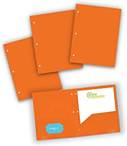 NEW GENERATION - Orange Folders - Poly 2 Pocket Folders with 3 Holes Punched, 3 Pack Heavy Duty for Letter Size Papers, Includes Business Card Slot, for School, Home, Office, Work and Storage