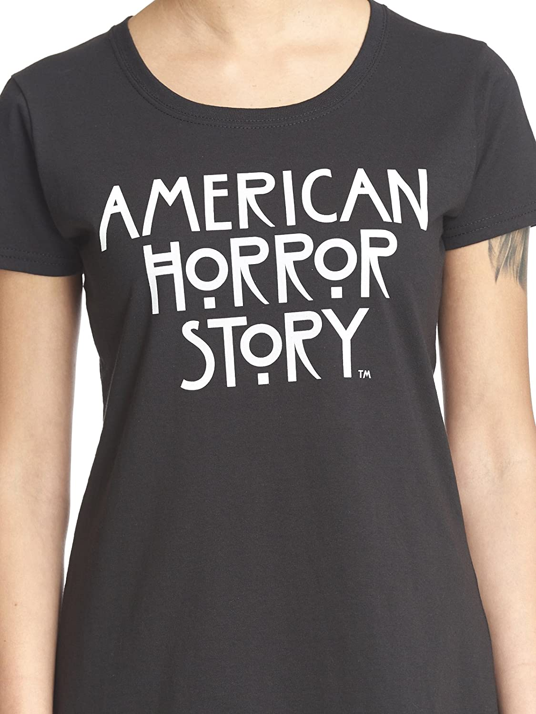 American Horror Story T-Shirt da Donna Logo Loose Fit Cotton Black