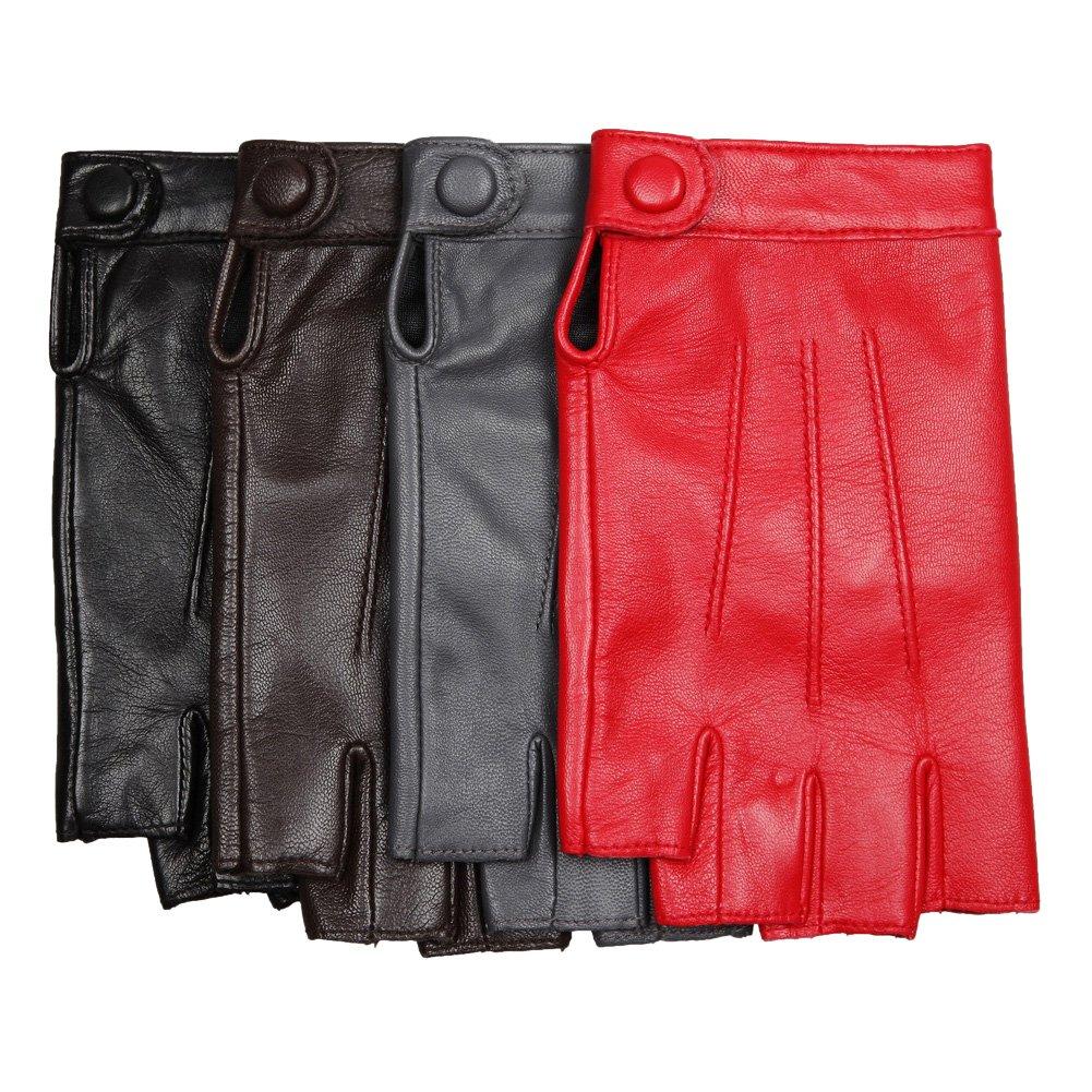 Warmen Women's Nappa Genuine Leather Half Finger Mittens Snap Closure (L, dark grey)