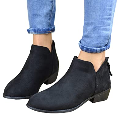 470c5433af033 Amazon.com: Womens Chunky Pointed toe Ankle Boots Leopard Print Shoes  Stacked Low Heel Booties: Clothing