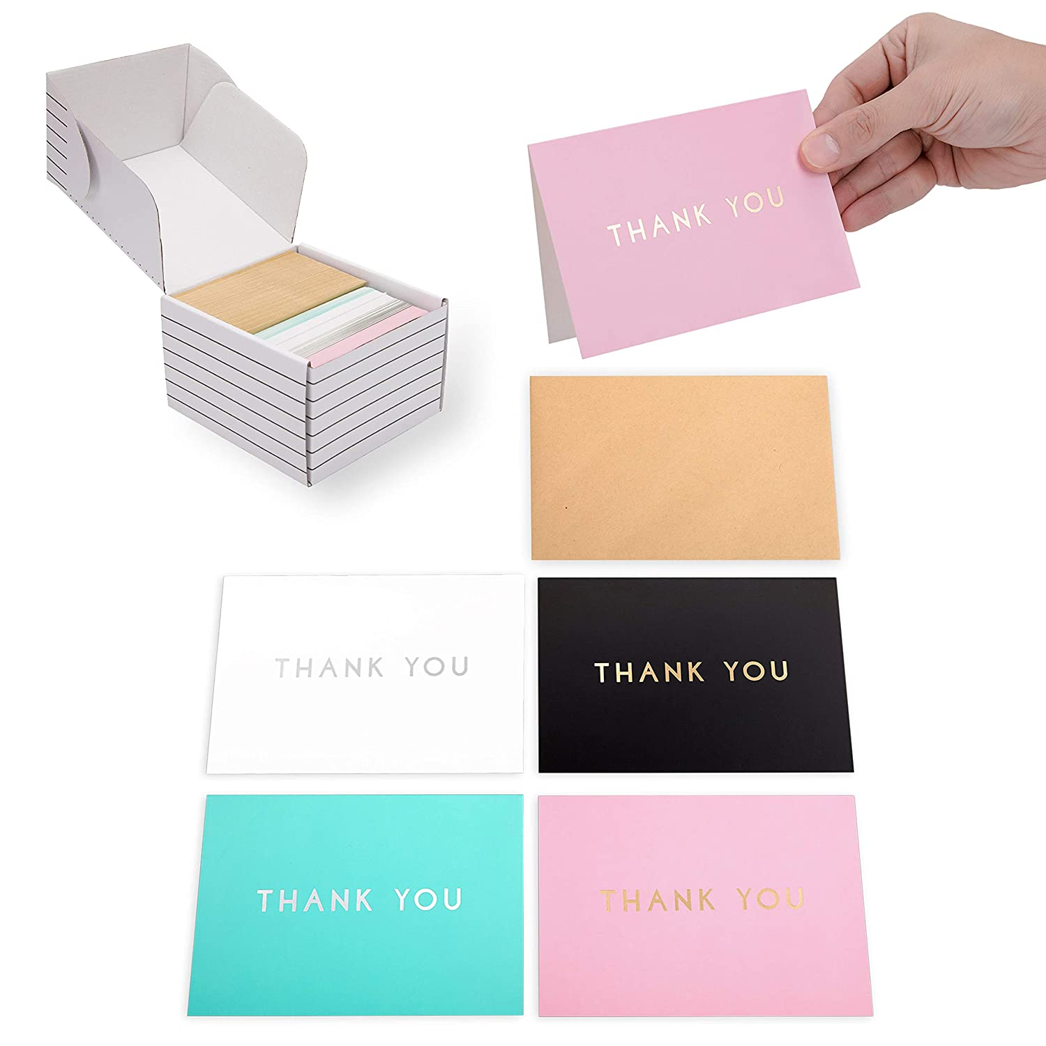 Outshine 100 Blank Thank You Cards with Envelopes Bulk Gratitude Note Cards in Storage Box 3.5 x 5 Cute Notecards for Wedding, Baby or Bridal Shower, Graduation Black, White, Blue and Pink