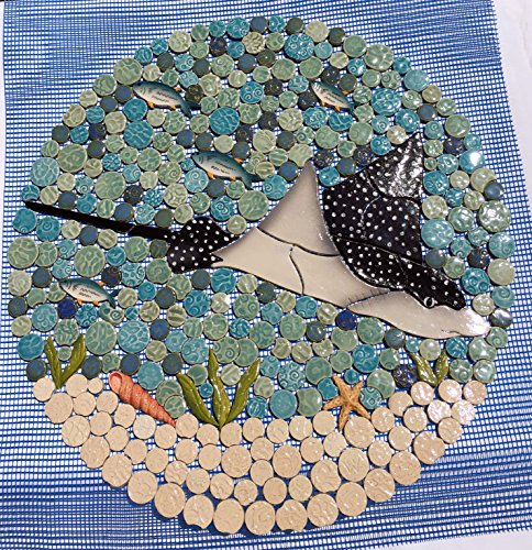 (DIY Custom Kitchen or Bath Ceramic Tile Nautical Ocean Stingray Backsplash or Shower Insert.)