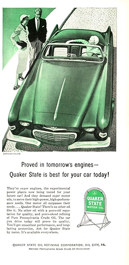 Amazon com: 1956 QUAKER STATE MOTOR OIL with CHRYSLER FALCON