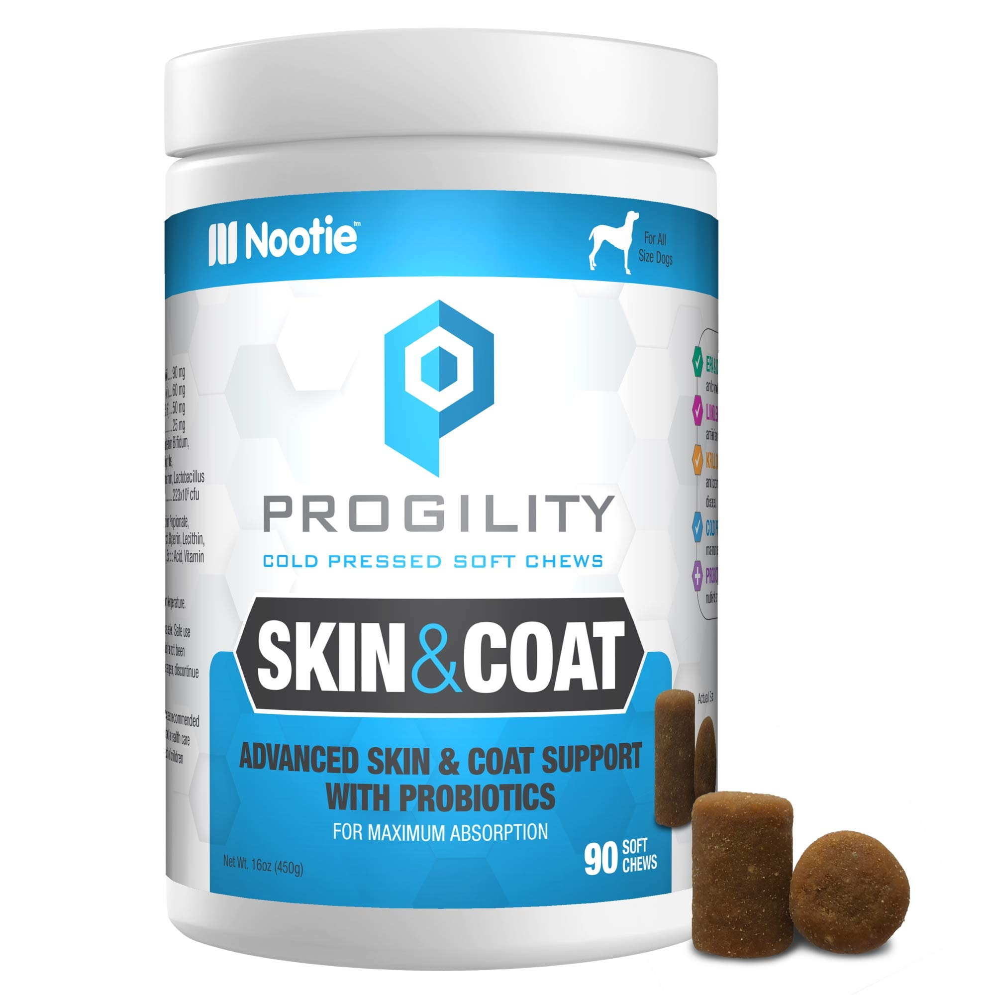 PROGILITY Nootie Skin & Coat with Probiotics for Dogs - 90 Cold Pressed Soft Chews - Advanced Skin & Coat Support, Chewable Omega 3 for Dogs with Krill & Flaxseed Oil by PROGILITY