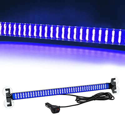 Led Warning Lights 23 Inch Police Emergency Strobe Light Bar 13 Flash Patterns 80 Led Traffic Advisor Vehicle Truck Cop Strobe Warning Flashing Led Safety Light with Cigar Lighter Blue: Automotive