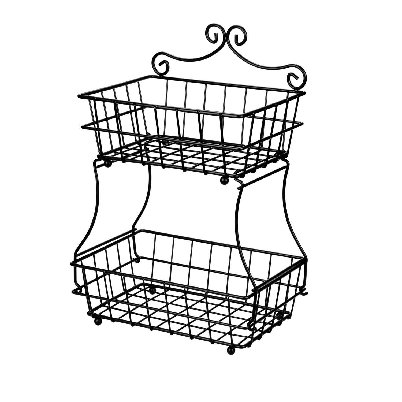 Linkfu 2 Tier Fruit/Bread Basket Removable Screwless Metal Basket Rack for Kitchen Counter -Black