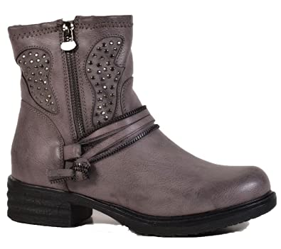 Damen Stiefeletten Biker Boots Nieten Schnallen Knöchelhohe Stiefel Leder- Optik 403 (36, Grau d29b540a83