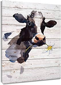 LB Framed Rustic Farm Animal Canvas Wall Art Watercolor Cow with Daisy Flower on The Vintage Wood Canvas Wall Decor for Living Room Bedroom Bathroom Home Decor Ready to Hang,12x16 inch