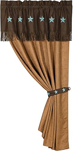 HiEnd Accents Laredo Western Tan Faux Suede Single Panel Curtain w/Valance