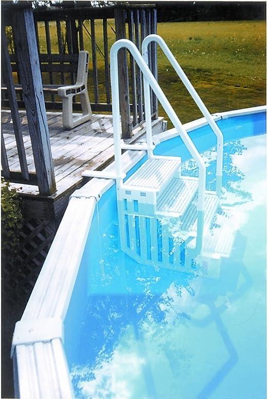 Escalera interior de resina para piscina con fondo plano H 1,22 ...