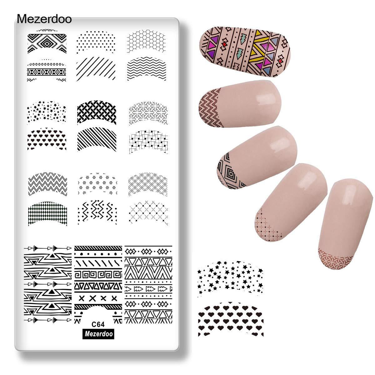 1Pcs French Nail Stamping Plates Tattoo Printing Templates Geometric Diy Elegant Rectangle Nail Art Stamp Tool Manicure Image Stencil Mezerdoo