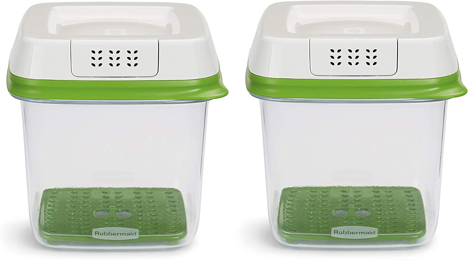 Rubbermaid FreshWorks Food Storage, (2) 6.3C Medium Squares, Green