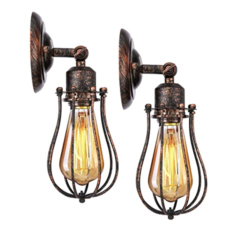 KINGSO 2 Pack E27 Lámpara de Pared Industrial Pantalla de ...