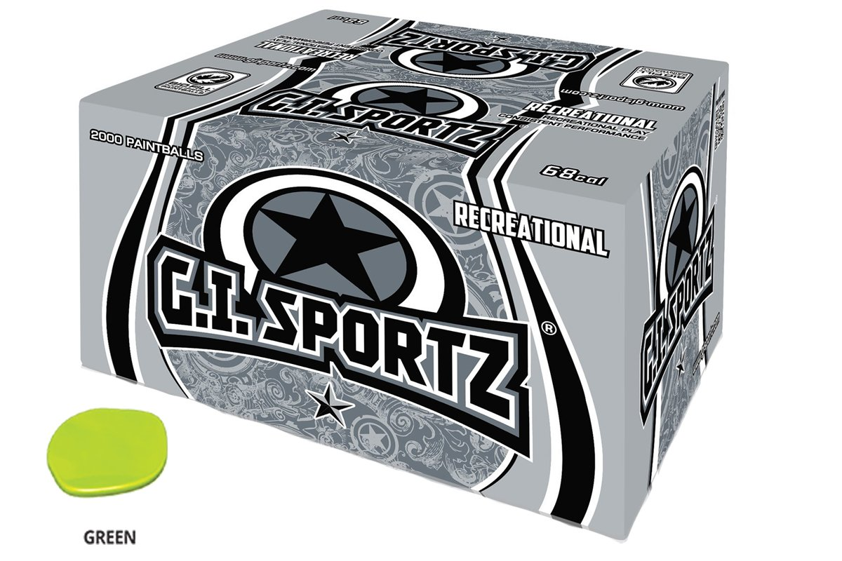 GI Sportz 1 Star Recreational PAINTBALLS 2000 Rounds Paint Balls (Green Fill) by GI Sportz