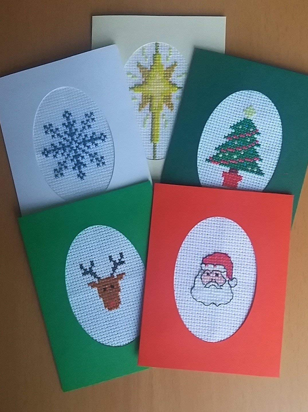 Pack Of 5 Cross Stitch Christmas Cards Kit Beginners Counted Cross