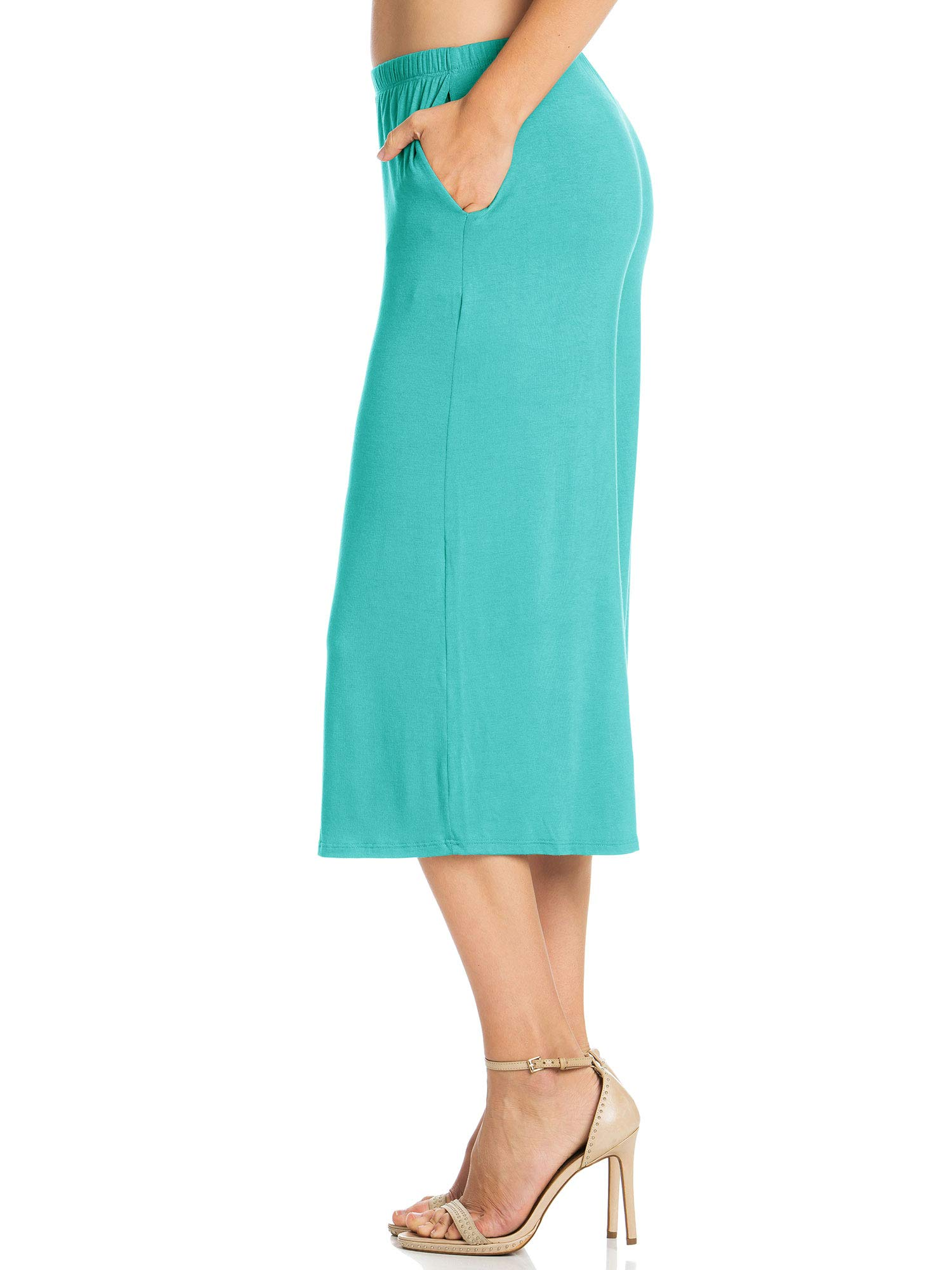 Fashion California Womens 1 Pack Elastic Waist Jersey Culottes Capri Pocket Pants (XXXXX-Large, Aqua) by Fashion California (Image #4)