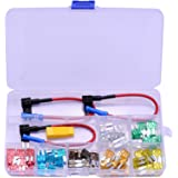 Evanno Micro2 Fuse Kit with Micro2 Fuse Tap, 70pcs Micro2 Blade Fuses (5A 7.5A 10A 15A 20A 25A 30A) with 3 Car Add-A-Circuit