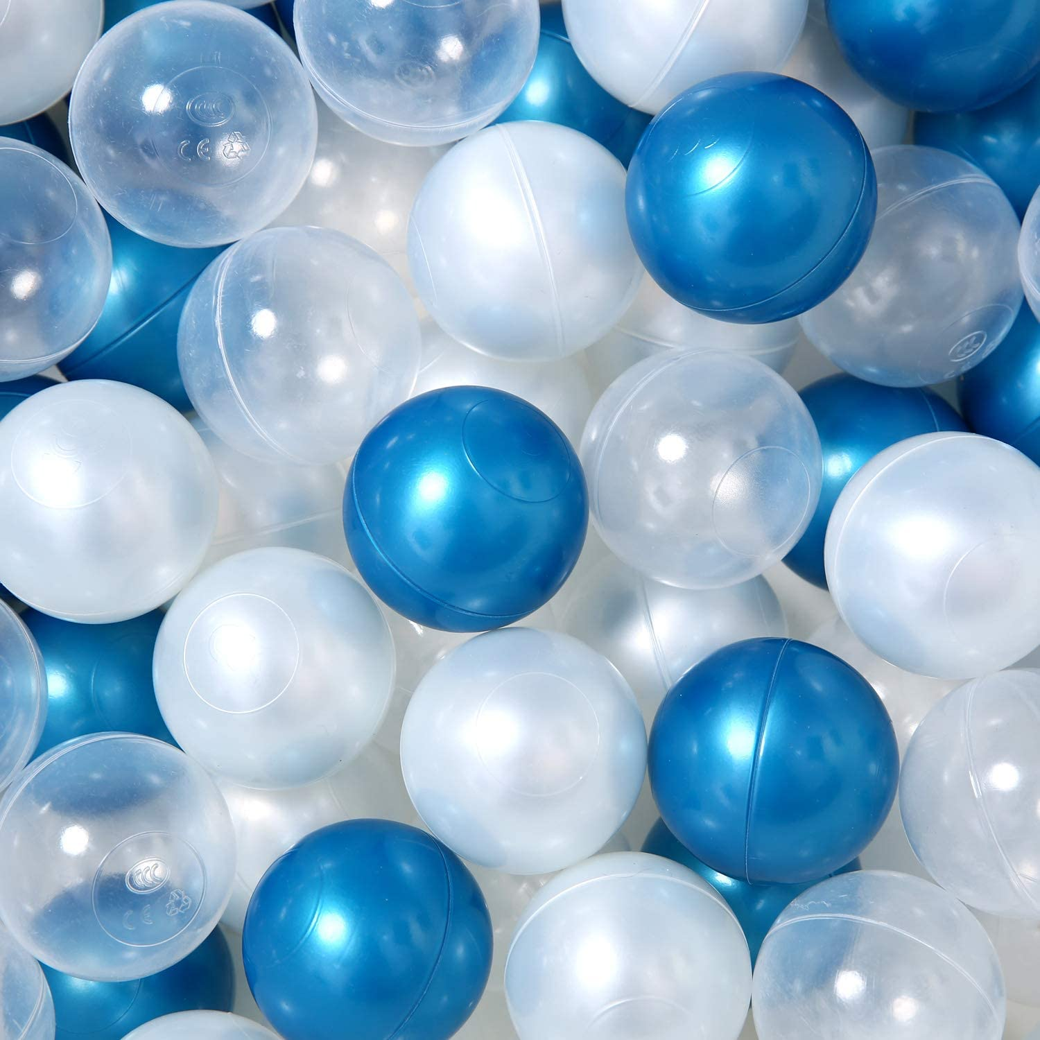 GOGOSO Ball Pit Balls BPA Free Play Ball Pack of 100 Plastic Balls Crush Proof Baby Play Crawl Ball 2.2 Inch Best for Baby Boy Birthday Party; Trampoline or Baby Dog Cat Toys