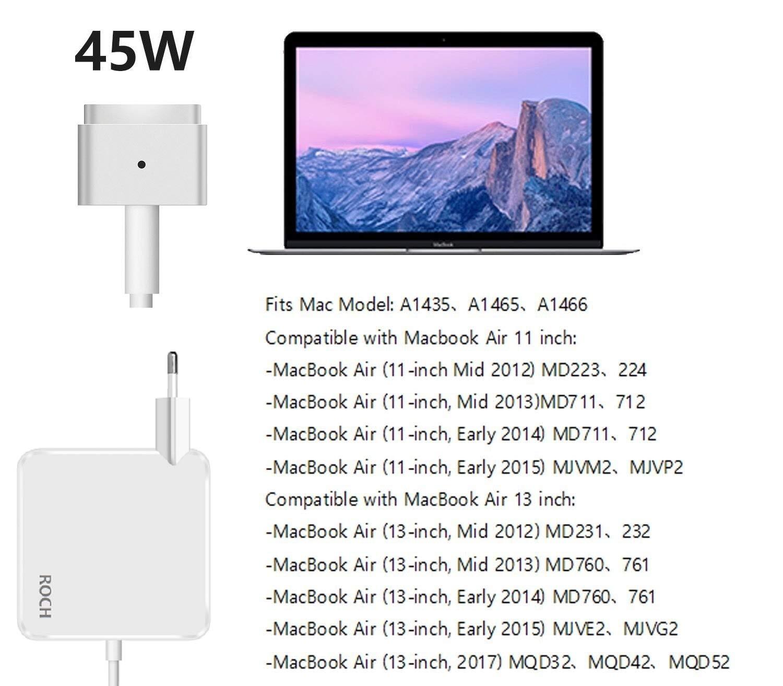 A1435 A1436 A1465 A1466 Mi 2012 /… ROCH Compatible avec Macbook Air Chargeur,Remplacement pour MagSafe 2 45W Adaptateur avec connecteur de Type-T Compatible avec MacBook Air Chargeur 11 et 13 Pouces