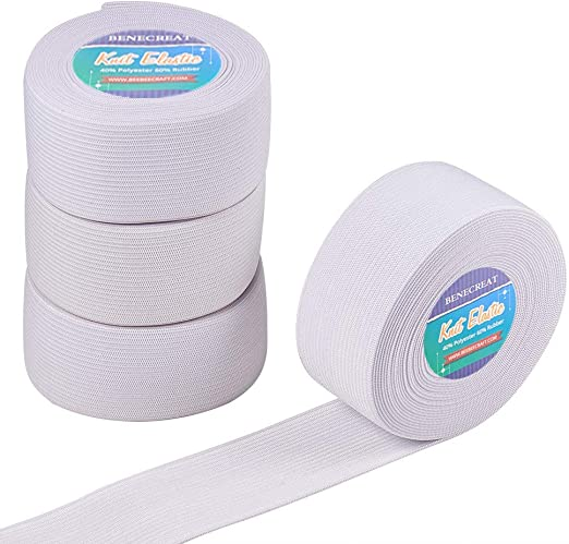 Durable Stretchy Elastic Band 38mm Width 1.5 Inches Off White Waistbanding 5 Mts