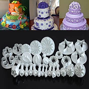 kurtzy cake decorator plunger cutter moulds for icing fondant cookie sugarcraft cupcake pancake desserts pastries
