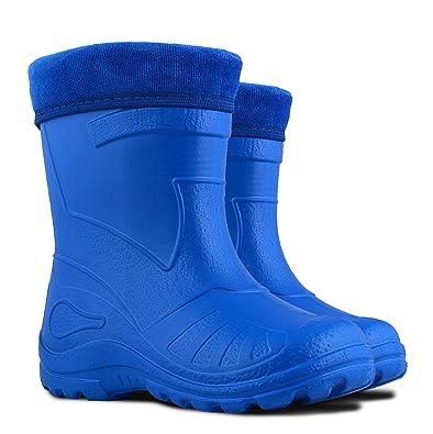 Ultra Light EVA Kids Girls Wellington Boots Rainy Snow Wellies Red Very  Warm Liners (1