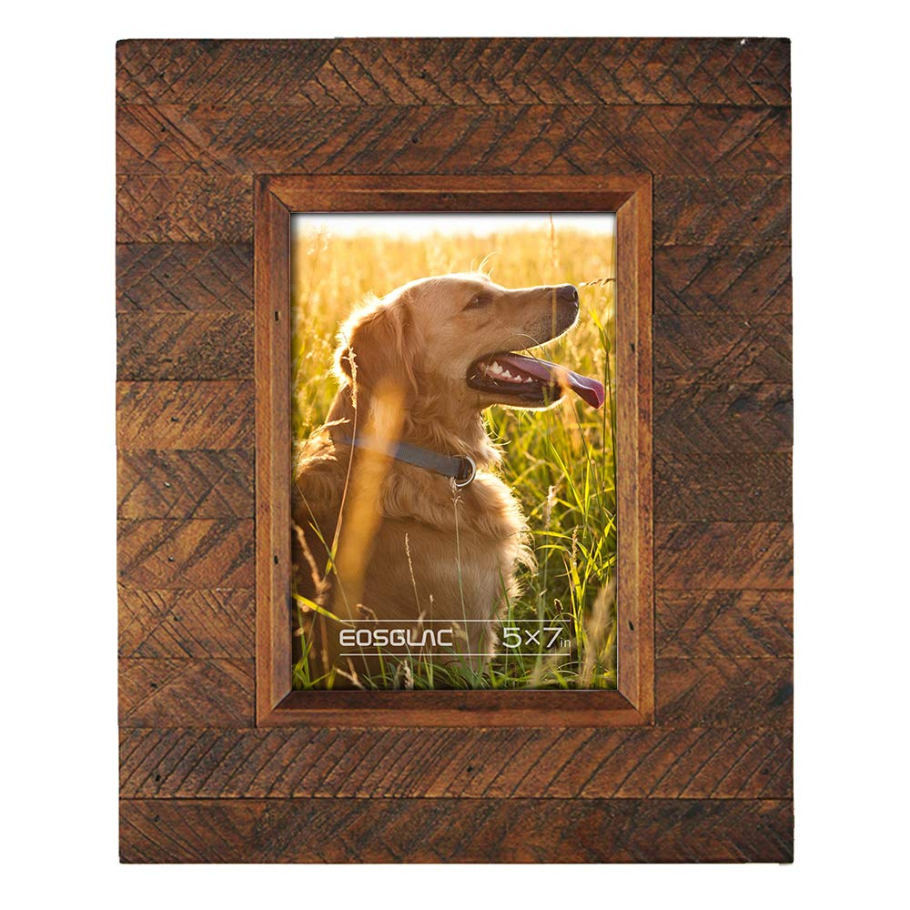 Eosglac Wooden Picture Frame 5x7 inch, Wood Plank Design with Rustic Brown Finish, Wall Mounting or Tabletop Display, Handcrafted Photo Frame by Eosglac