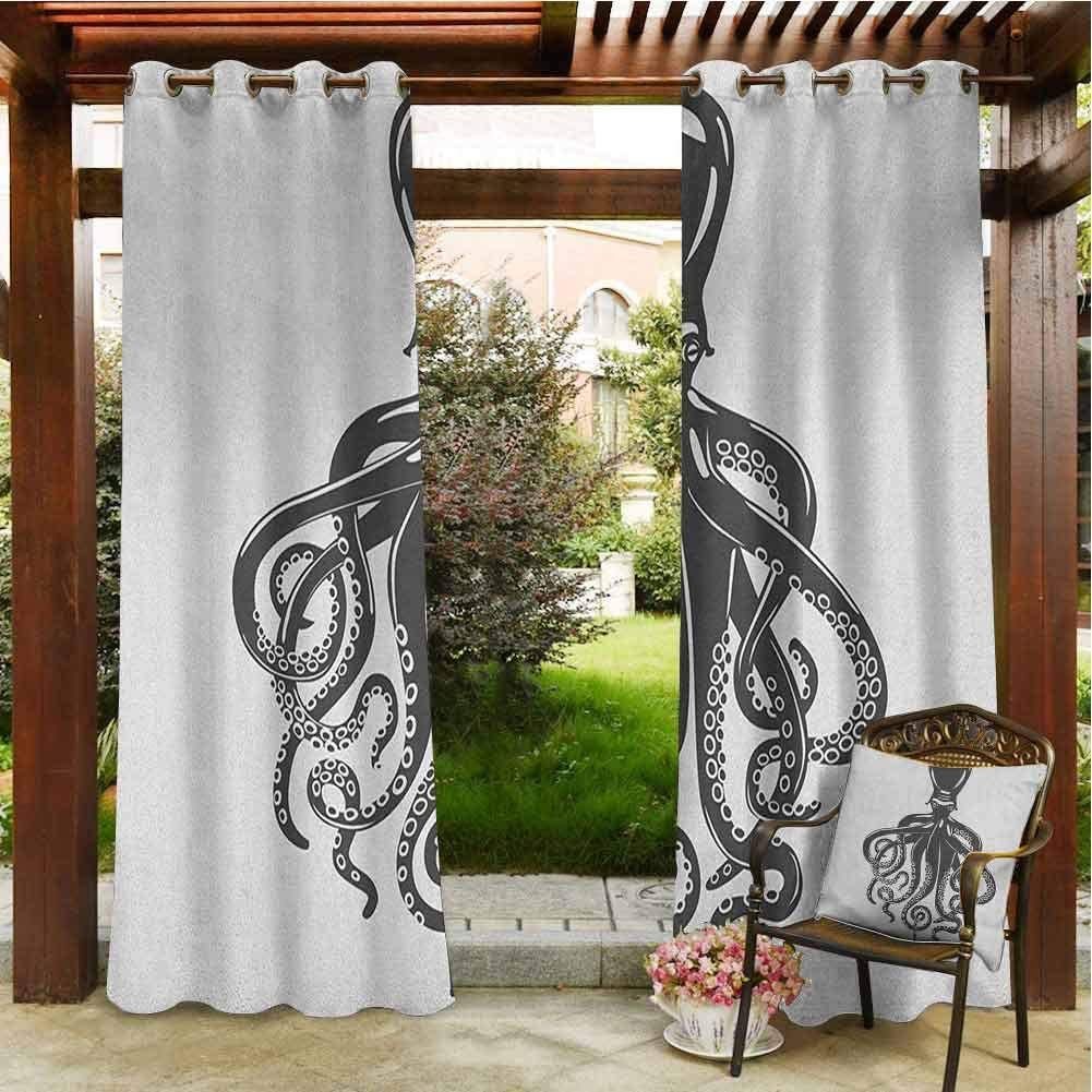 Ocean Blackout Curtains Twilight Seascape at Karon Beach Thailand Exotic Vacation Getaway Destination Picture Outdoor Waterproof Curtain 72x84 INCH,Red Yellow