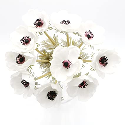 Amazon white anemones pu real touch flowers 10 single stems for white anemones pu real touch flowers 10 single stems for silk wedding bridal bouquets centerpieces decorative mightylinksfo