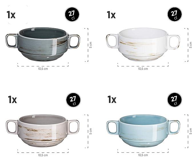 Mäser 931453 Derby Premium Suppentassen Set für 4 Personen in Gastronomie-Qualit
