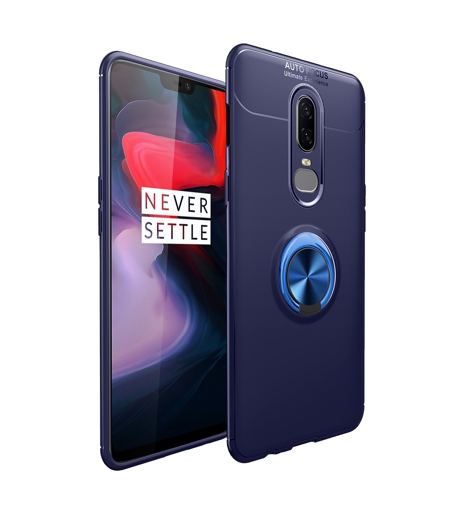 OnePlus 6T Case with HD Screen Protector,I VIKKLY Slim Flexible and Durable Soft [TPU] 360 Degree Rotating Ring Kickstand Shockproof Case Fit Magnetic Car Mount for OnePlus 6T 6.4'' (2018) (Navy Blue) by I VIKKLY (Image #2)