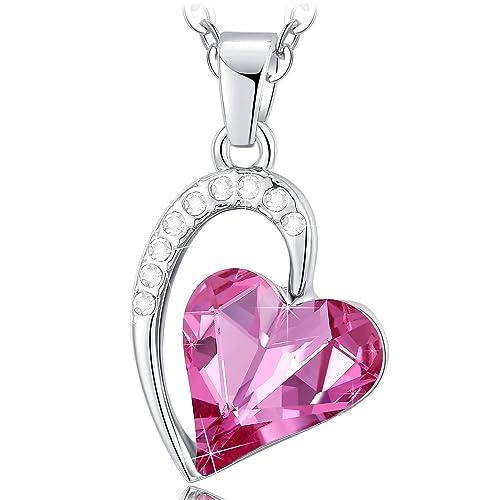 NEEMODA Collar Mujer Joven Colgante Corazón Cristal Rosa ...
