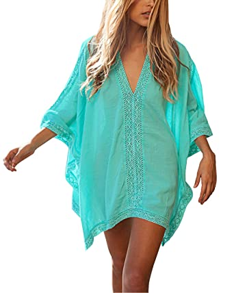 a7e002d467c LALAVAVA Womens Sexy Solid Lace Oversized Beach Cover up Swimsuit Bathing  Suit Beach Dress (Green