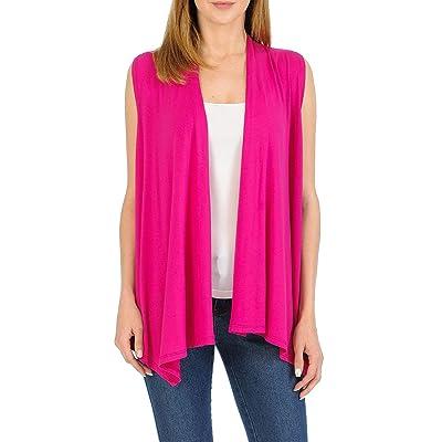 Fashion Aktiv Womens Sleeveless Open Front Waterfall Draped Cardigan Sweater Vest at Women's Clothing store