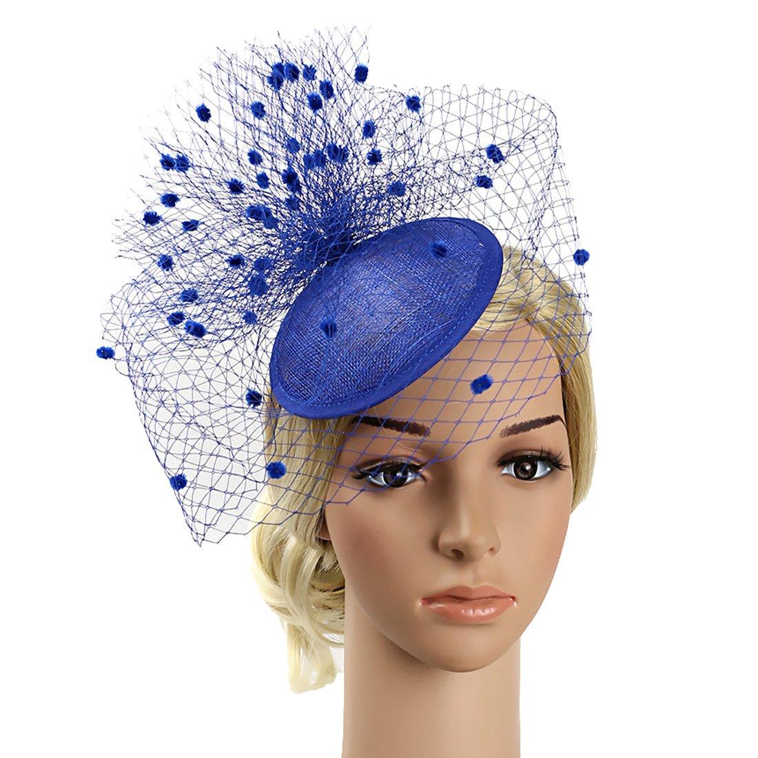 Free Yoka Sinamay Feather Fascinators Womens Pillbox Flower Derby Hat for Cocktail Ball Wedding Church Tea Party (Sapphire Blue)