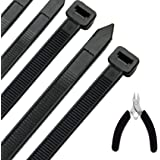 Honyear 24 Inch Cable Zip Ties Heavy Duty (with Wire Cable Cutters), Strong Large Black Zip Ties with 175 Pounds Tensile Stre