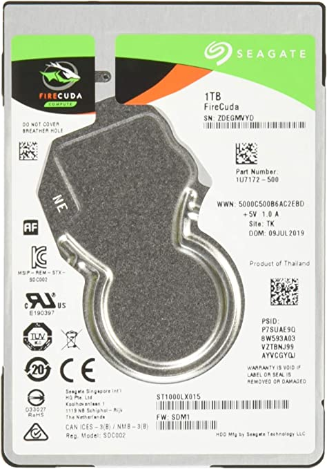 ST1000LX015 Seagate ST1000LXZ15//LX015 FireCuda 1TB Solid State Hybrid Drive Performance SSHD Frustration Free Packaging 2.5 SATA 6GB//s Flash Accelerated for Gaming PC Laptop