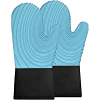 H HOME-MART 1 Pair Silicone Oven Mitts, Durable Heat Resistant Oven Gloves with Quilted Liner Non-Slip Textured Grip…