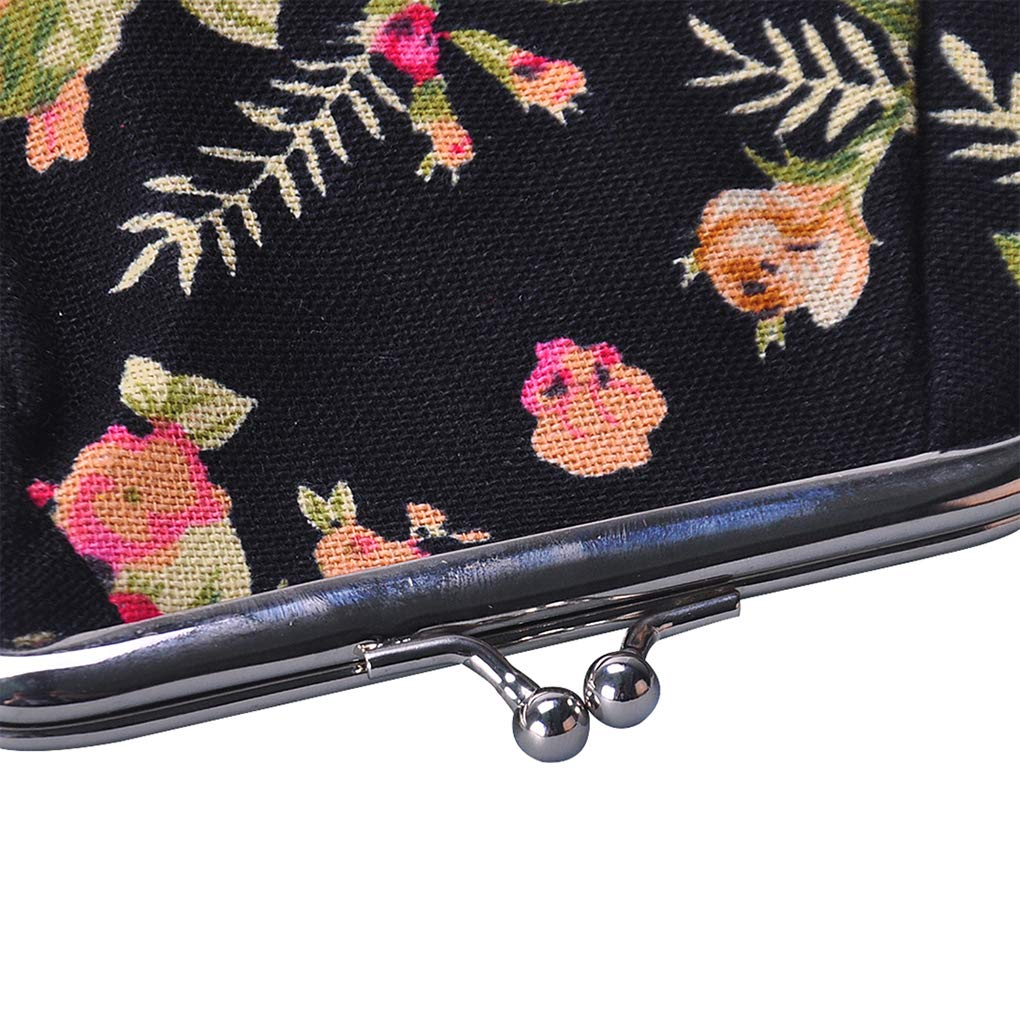 Black Rolin Roly Cute Clasp Closure Wallet Coin Purse Change Organizer Canvas Jewelry Pouch 13 x 9 x 9.5cm