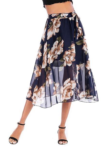 69b85f5a257e1 Mojonnie Women's Casual Floral Printed Chiffon Midi Skirt Boho ...