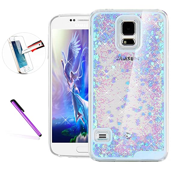 separation shoes f8f93 46220 Samsung Galaxy S5 Case,ISADENSER Glitter Flowing Liquid Floating Moving  Hard Protective Case Protective Case for Samsung Galaxy S5 + 1pcs Tempered  ...