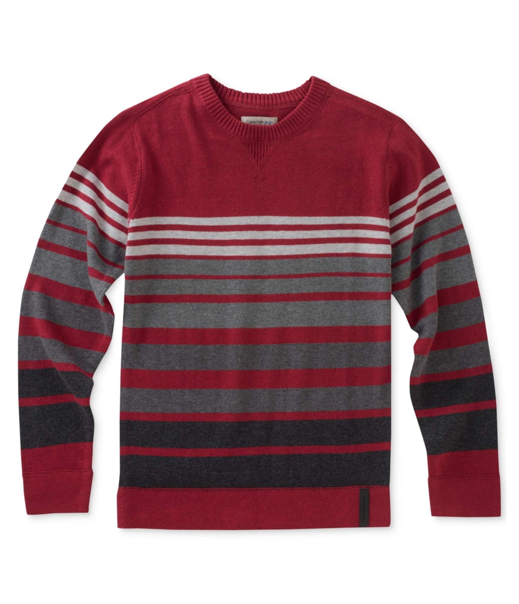 Calvin Klein Little Boys' Marled Stripe Cotton Sweater Red (S(8))
