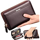 Mens Wallet Long Leather Cellphone Clutch Wallet Purse for Men Business Hand Cluth Bag Cell Phone Holster Card Holder Card Lots Case Large Travel Wallet Father Husband Boyfriend (Brown)
