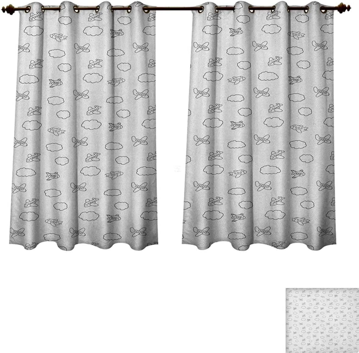 Pricetextile Airplane Bedroom Thermal Blackout Curtains Childish Boys Pattern With Little Aeroplanes And Puffy Clouds In Doodle Style Drapes For Living Room Black White Size W63 Xl45 Amazon Co Uk Kitchen Home