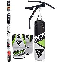 RDX Boxsack Set Gefüllt Kickboxen MMA Muay Thai Boxen wandhalterung mit klimmzugstange Stahlkette Training Handschuhe Kampfsport Schwer Punchingsack gewicht 5FT
