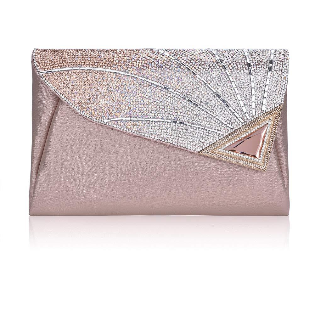 Clutch Purse For Women Formal Ladies Rhinestone Clutch handbags Leather Clutch Bag Wedding Bridal Cocktail With Strap(PINK)