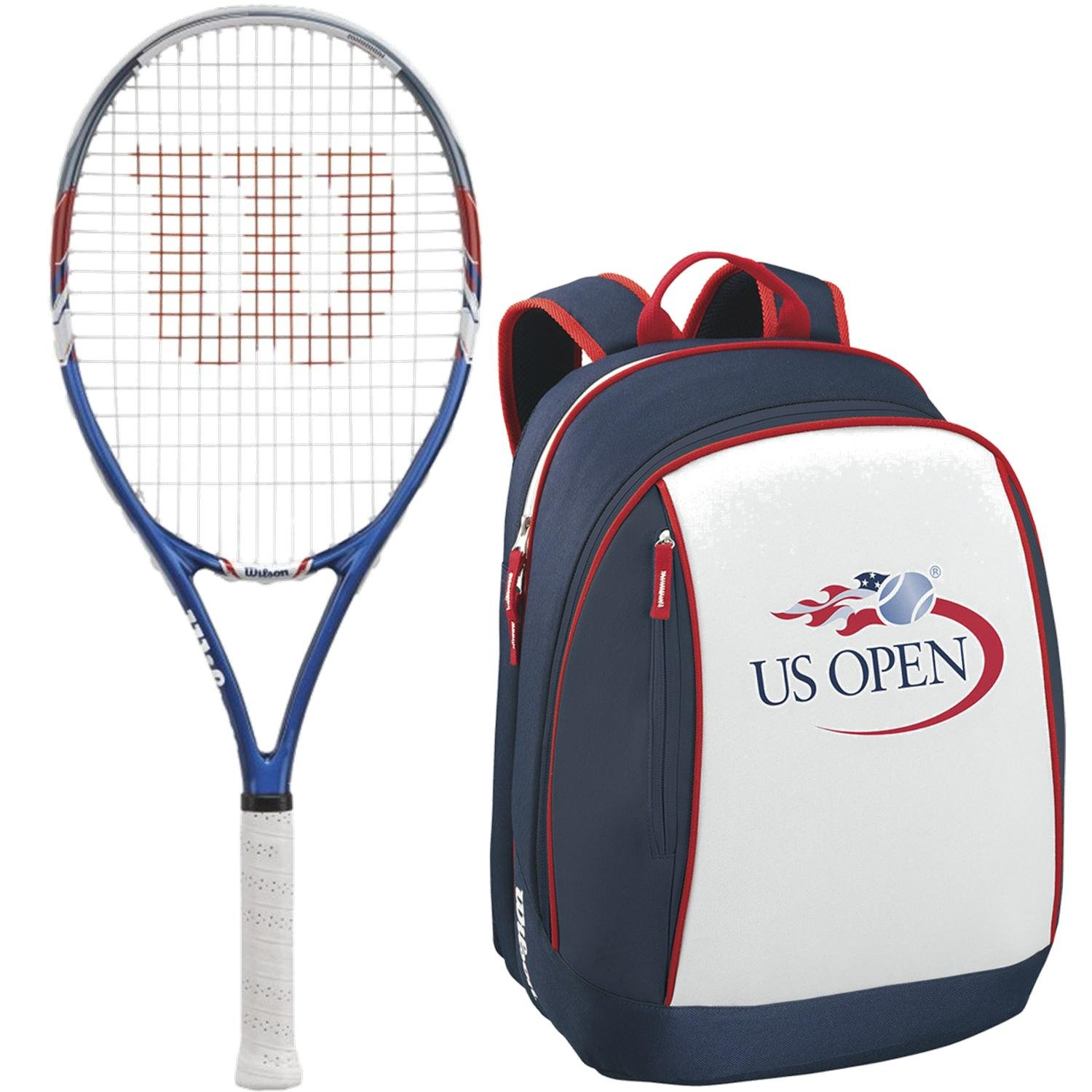 Wilson US Open Pre-Strung Tennis Racquet (Grip Size 4 1/4) bundled with a Limited Edition US Open Backpack