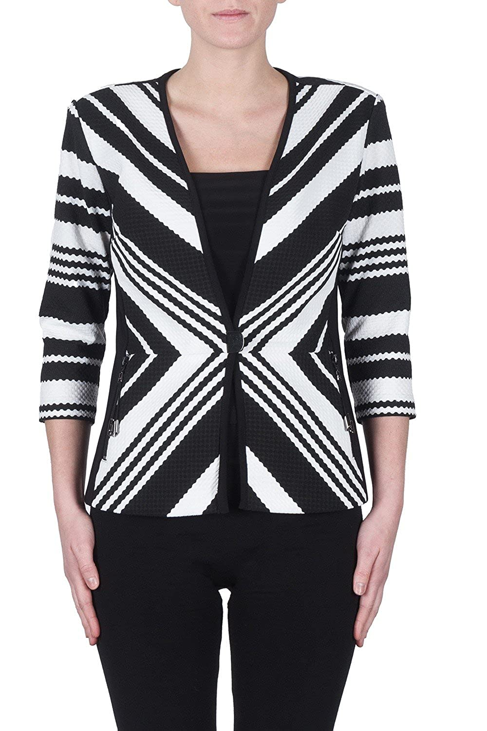 Joseph Ribkoff Black /& White Striped Textured Coverup Jacket Style 172852